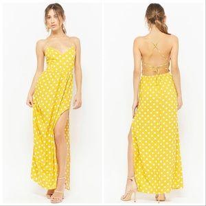 Yellow Polka Dot Maxi Dress